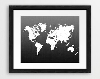 Black and white world map on linen organic linen from world map print black and white world map wall art white map art gumiabroncs Image collections