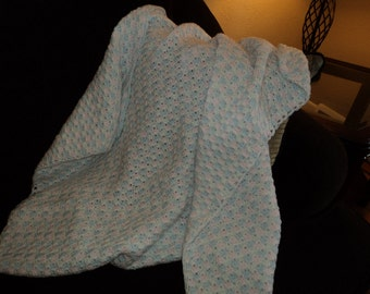 Pink, Blue & White Tiny Shell Baby Afghan