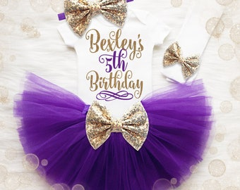 Personalized 5th Birthday Tutu Outfit   Purple And Gold 5th Birthday Tutu Set   5th Birthday Shirt   5th Birthday Outfit   Birthday Tutu Set