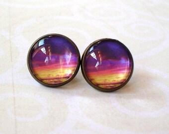 20 % OFF - Purple Orange Yellow Sunset Cloud Cabochon Stud earrings,Earring Post,Beautiful Gift Idea