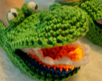 Alligator Slippers Crochet Pattern PDF 485