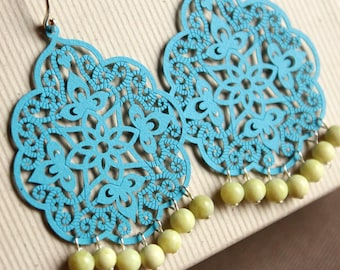 Bright Blue Enameled Filigree Earrings with Lemon Chrysoprase Beads - Sterling Silver