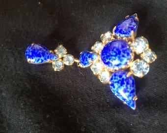 Art Deco Electric Blue Brooch Mid century brooch