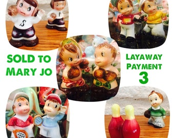 LAYAWAY for Mary Jo - Payment 3 - PY Miyao Little Boxers, Golfers, Baseball, Boxing, and Tennis Shakers made in Japan circa 1950s