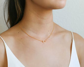 Dainty Circle Necklace / Simple Gold Circle Necklace / Gold Karma Necklace / Gold Open Circle Necklace / Bridesmaid Necklace
