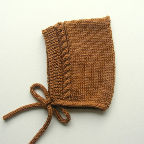 Merino Wool Cable Knit Pixie Hat in Toffee - Sizes Newborn to 24 months - Pre-Order