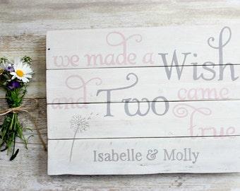 Twin Baby Gift, Twin Nursery Decor, Twin Nursery Art, Rustic Nursery Decor, Rustic Nursery Wall Art, Rustic Wooden Sign, Rustic Wood Signs