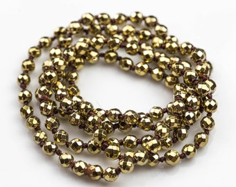 Long Knotted - Preknotted Necklace- Light Gold Hematite-6mm-38 inches Long- Ready to wear- Long Necklace