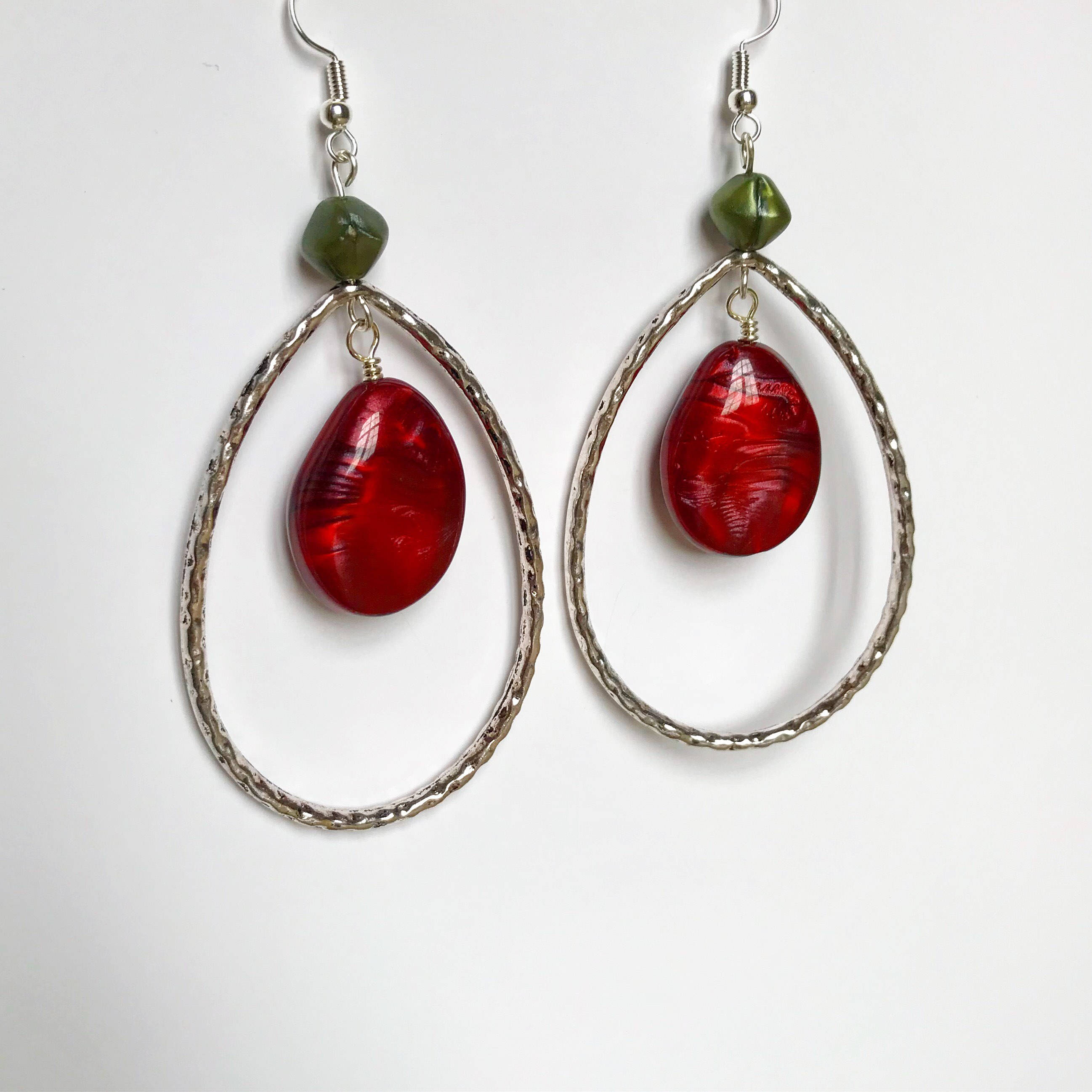 Red green and tibetan silver chandelier earrings sterling silver red green and tibetan silver chandelier earrings sterling silver earrings bohemian earrings gift for her recycled earrings mozeypictures Gallery