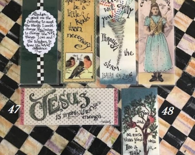 Scripture Bookmarks-Cindy Grubb_#43-48-Serenity Prayer, Tornado- Isaiah, Be Kind, Make A Wish, Jesus Is More Than Enough, Friends(birds)