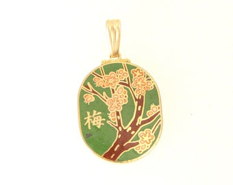 Vintage Cloisonne Green Pendant Charm Inlaid Green Brown Pink Gold Asian Floral Fob