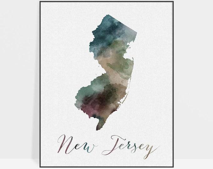 New Jersey state map, Watercolor map, Wall art, New Jersey map poster, New Jersey state watercolor, fine art watercolor print ArtPrintsVicky