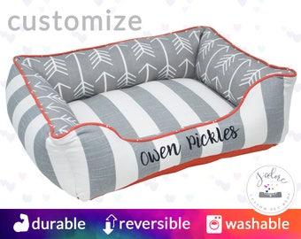 Grey & Orange Personalised Dog Bed or Cat Bed | Stripe, Arrow, Designer - Small, Medium, Large Bolster Pet Bed
