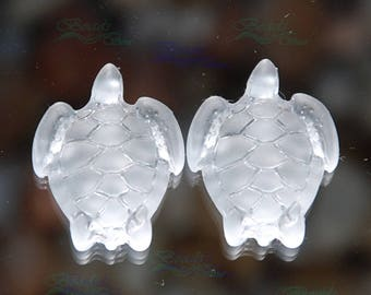 Sea glass Turtle Clear 2pc (23x18mm) Side-drilled Cultured Sea Glass Beads~Jewelry Making Beads~Frosted Glass~Beach Glass