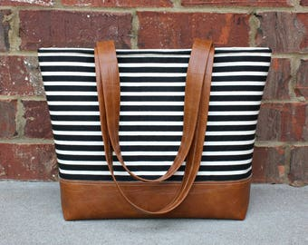 Black Stripe Bag with Faux Leather Straps