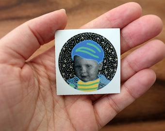 Surreal Dada Round Glossy Vinyl Sticker Art Collage Of A Vintage Retro Baby Boy Portrait Photography Altered Wirh Colorful Posca Pens