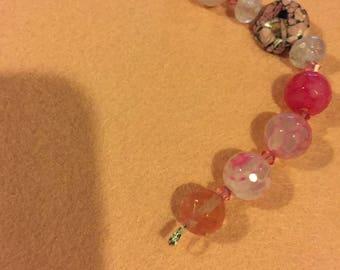 Pink Quartz and turquoise bracelet, pink gemstone bracelet