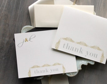 "Wedding Thank You Cards, Gray & Gold Thank You Cards, Elegant Thank You Card - ""Modern Romance Thank You Cards"" Deposit"