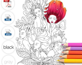 Adult Coloring Page Alice in Wonderland Garden Flowers Line Art