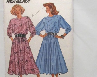 Butterick 5722 Fast & Easy Misses Dress Very Loose Fitting Blouson Bodice Flared Skirt Large and XLarge UNCUT