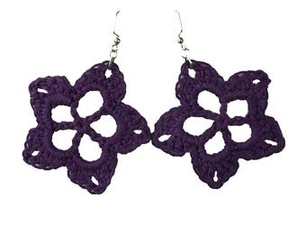 Large Crochet Flower Earrings