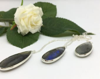 Labradorite Silver Necklace, Gift For Her, Best Friend, Mum, Wife, Girlfriend, Daughter, Sister, Labradorite Pendant, Silver Necklace