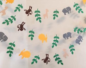Jungle Baby Shower Decor-10ft paper garland- Safari Birthday Decor- Safari Animal garland  - Custom colors Available