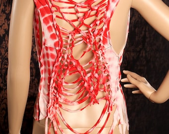 Festival Tank Top, loose slinky shirt, braided cut up open back, low cut tshirt, soft cotton red white tie dye, cowl neck