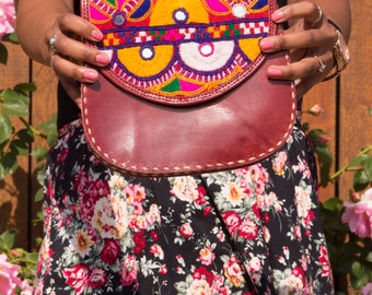 Handstitched Motif /Handmade / Genuine Leather / Locally Designed/ Cow Leather /Small Cross Body Leather Bag/Genuine Leather Bag