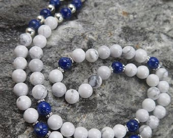 Magnesite Necklace with Lapislazuli and 925 Silber Beads