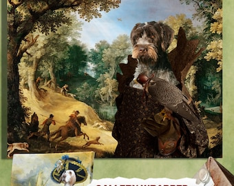 Wirehaired Pointing Griffon  Korthals Pointing Griffon Art Print Canvas Fine Artwork Gallery Wrap or Museum Wrap Print