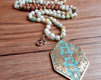 Ethnic necklace, boho necklace, with multicolor Amazonian stones and Tibetan pendant, Nepalese Pendant