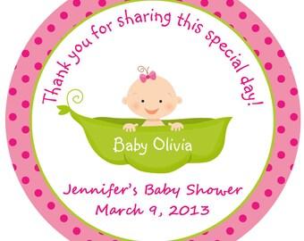 Pea in a pod Baby Shower Sticker --  sweet pea Baby girl personalized sticker --  favor tag, address label, custom sticker