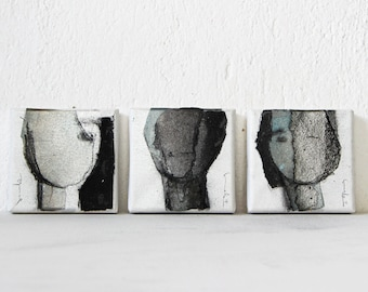 Tiny Faces Triptych, Art Set of 3 Paintings on Canvas, Original Small Abstract Art, Silver and Black Paintings