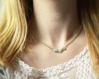 Gold and Mint Faceted Bead Necklace