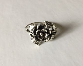 Sterling Silver 925 Rose Flower and Leaves Ring Size 7 1/2