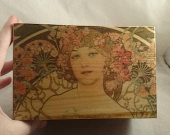 Art Nouveau Mucha Ladies Wooden Box