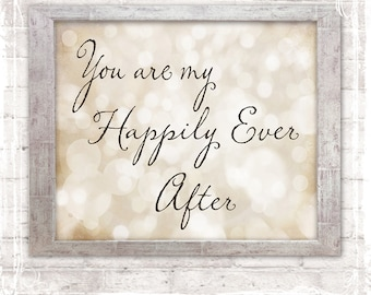 Happily Ever After Print - Home Decor Sign - Wedding Gift - Anniversary Gift - Sparkle Fairytale Weddings - Valentines Day Gift - Love Signs