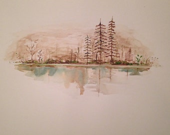 Watercolor forest horizon