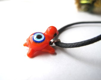 Cutie Pie Turtle Murano Glass Evil Eye Necklace - Orange