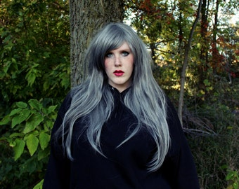 Silver wig | Gray Straight Long wig | Halloween wig, Scene wig, Cosplay wig, Emo and Hipster | Grey Ghost