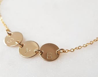 Personalised 9ct gold disc necklace, 9ct gold initial necklace, gold letter necklace, gold disc necklace, 9ct solid gold monogram necklace