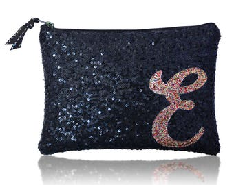 Personalised initial monogram sequin zip top clutch purse navy