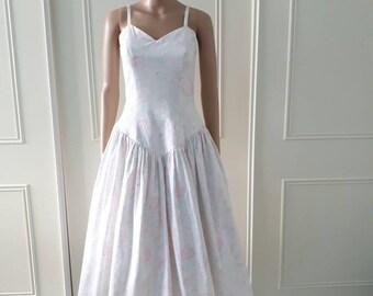 Gianni Balenti 1970's vintage dress prom dress party dress floral print dress midi dress ladies dress white size 8/10