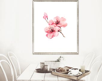 Watercolor painting cherry blossom art print, nursery pink flower, girl nursery decor, flower wall art, pink wall hanging - N91