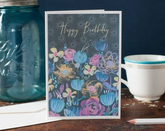 best friend birthday card, floral birthday card, happy birthday cards, hand painted art card, vibrant floral greeting card, cards for her
