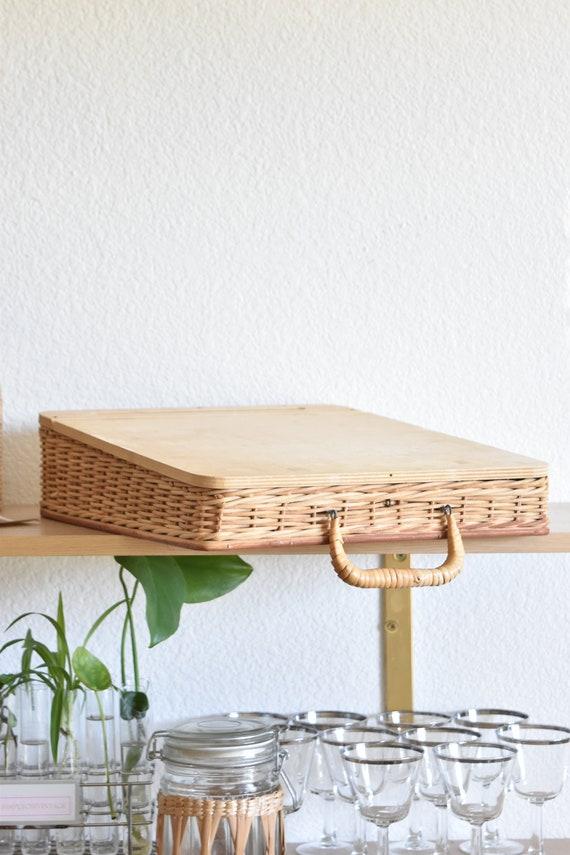 woven wicker basket school desk top tool box kit / office storage box