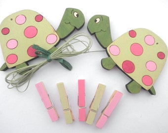 Children's  Artwork display hanger- Turtles pink and green -kids wall art, kids art hangers, girls wall decor, baby shower decoration