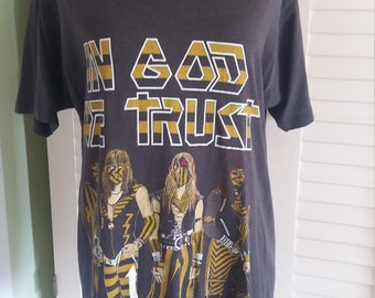 Yellow and black attack t shirt, in Gof we trust T shirt, christian t shirt, vintage christian metal music band, vintage T shirt,