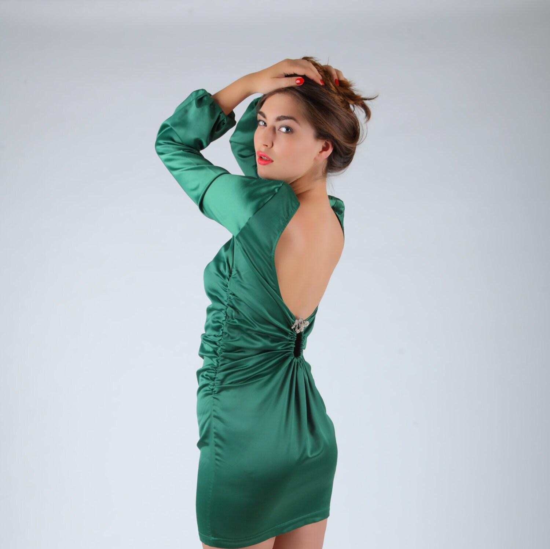 Rückenfreies Kleid offenen Rücken grüne Satin Kleid Vintage
